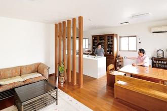 3室を一体にして家事動線を効率化したバリアフリーの家