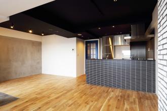ステンレスキッチンのクールなリビング空間
